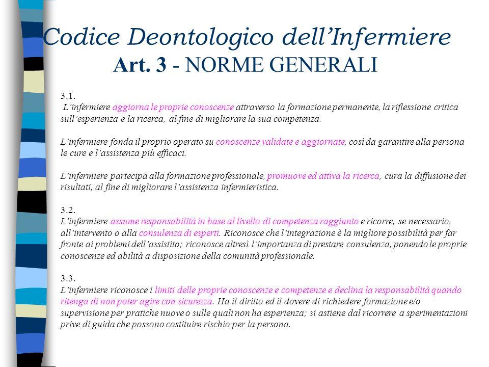 Codice Deontologico dellInfermiere Art. 2 - PRINCIPI ETICI DELLA PROFESSIONE 2.1. Il rispetto dei diritti fondamentali delluomo e dei principi etici d