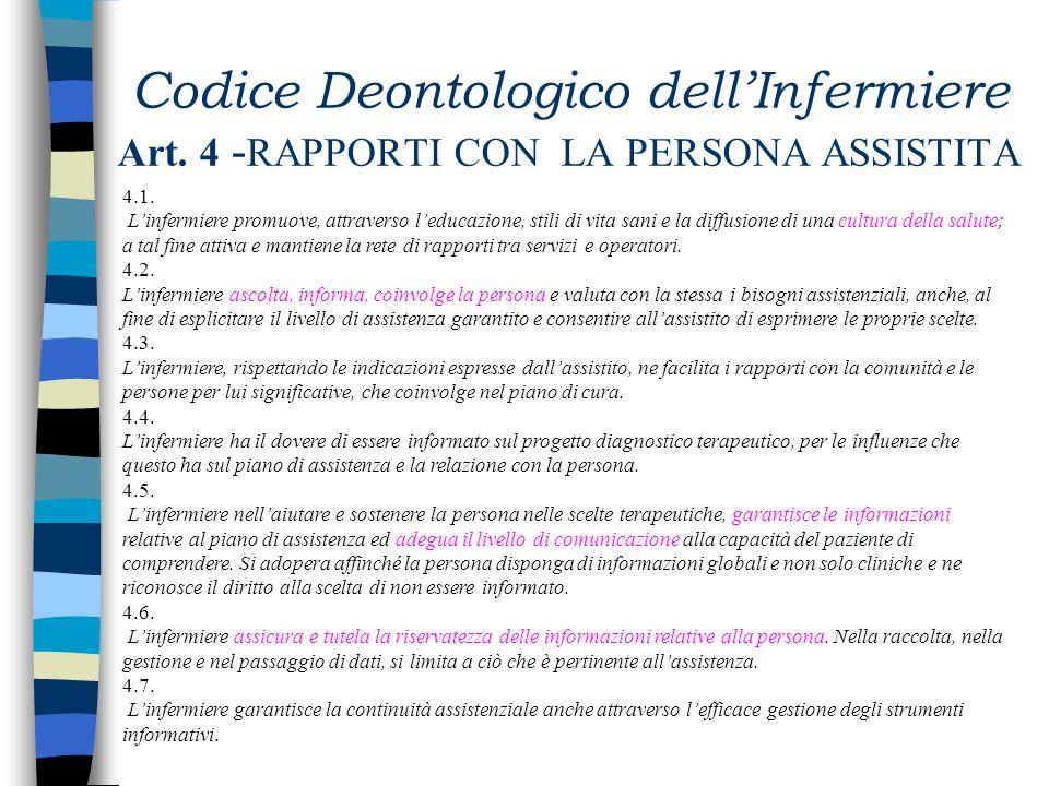 Codice Deontologico dellInfermiere Art. 3 -NORME GENERALI (continua) 3.4. Linfermiere si attiva per lanalisi dei dilemmi etici vissuti nelloperatività