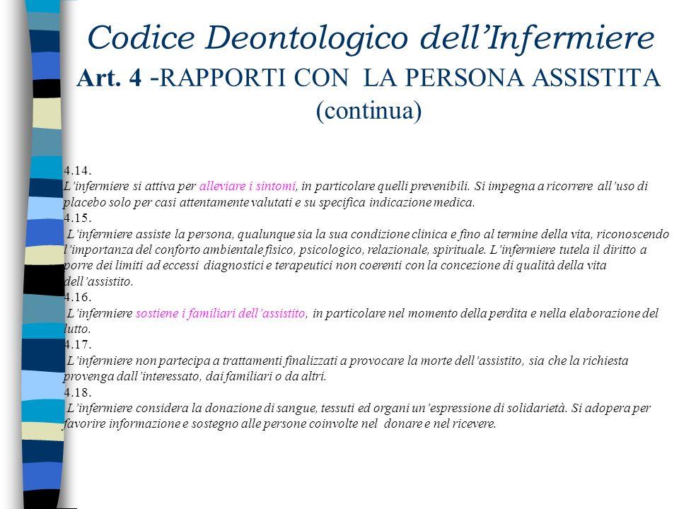 Codice Deontologico dellInfermiere Art. 4 - RAPPORTI CON LA PERSONA ASSISTITA (continua) 4.8. Linfermiere rispetta il segreto professionale non solo p