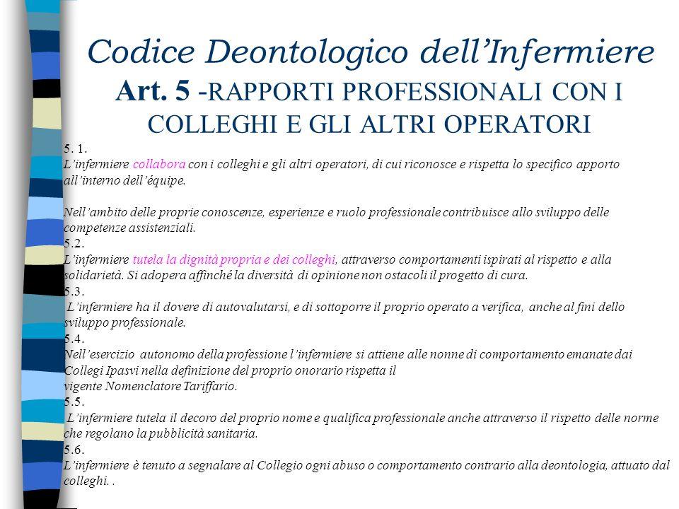 Codice Deontologico dellInfermiere Art. 4 - RAPPORTI CON LA PERSONA ASSISTITA (continua) 4.14. Linfermiere si attiva per alleviare i sintomi, in parti