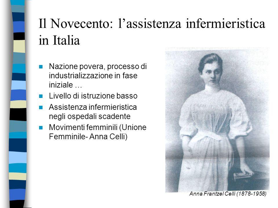 Il Novecento:lassistenza infermieristica negli Stati Uniti 1870 prime scuole infermieristiche Viene accolta la proposta di corsi triennali Mary Adelai