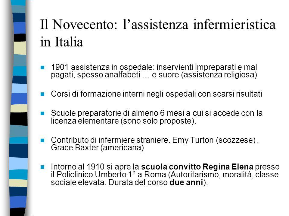 Il Novecento: lassistenza infermieristica in Italia Nazione povera, processo di industrializzazione in fase iniziale … Livello di istruzione basso Ass