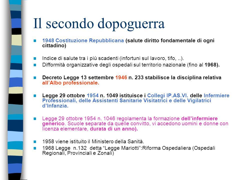 R.D. 2 maggio 1940 n. 1310 R.D. 2 maggio 1940 n. 1310 Determinazione delle mansioni delle infermiere professionali e degli infermieri generici Artt. 1