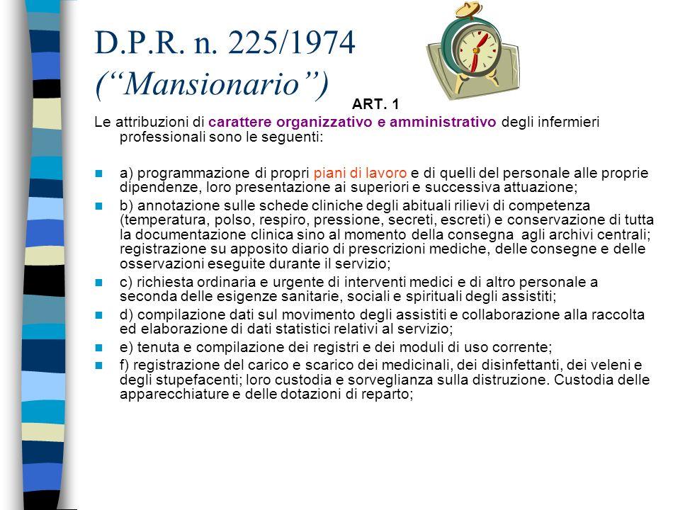 D.P.R. n. 225/1974 (Mansionario) Le mansioni dellinfermiere sono descritte in due articoli: ART. 1 attribuzioni di carattere organizzativo e amministr