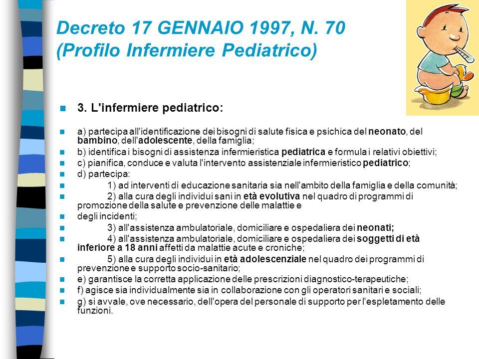 Articolo 1 1.È individuata la figura professionale dell'infermiere pediatrico con il seguente profilo: l'infermiere pediatrico è l'operatore sanitario
