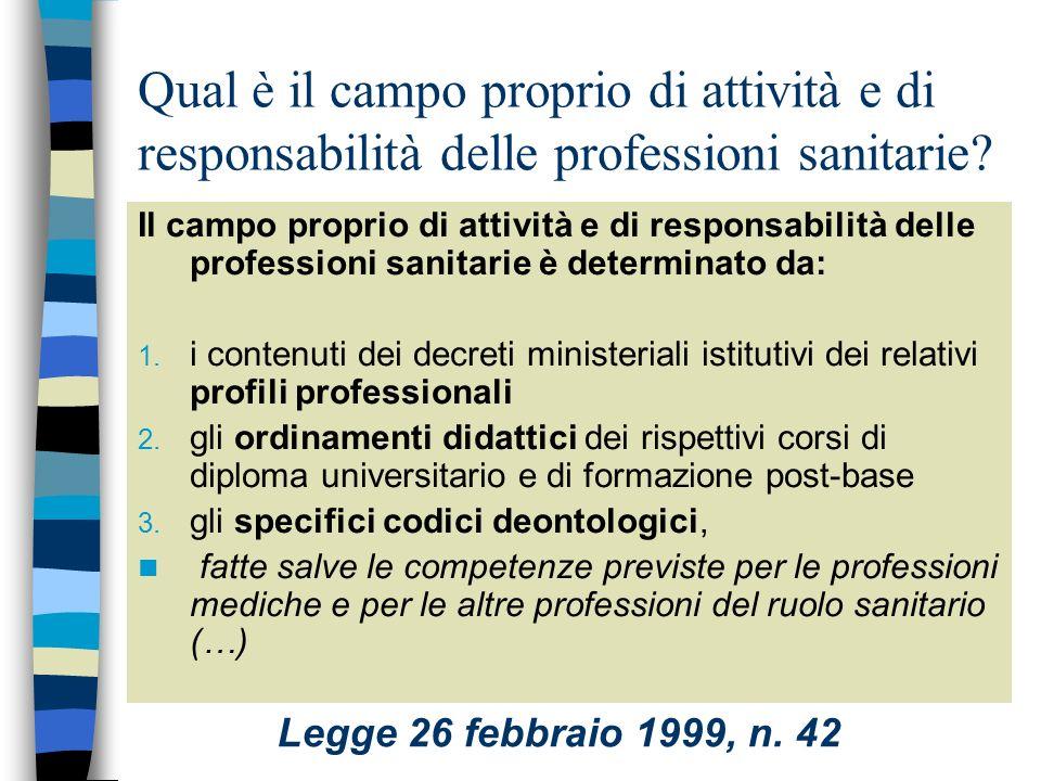 Legge 26 febbraio 1999, n. 42 Disposizioni in materia di professioni sanitarie pubblicata nella Gazzetta Ufficiale n. 50 del 2 marzo 1999 Art.1 Defini