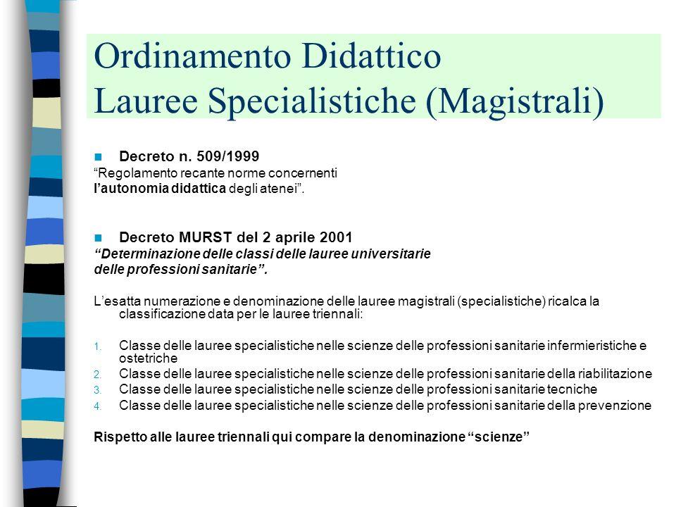 Professioni tecniche della prevenzione Decreto Ministeriale 2001 (4° Classe di Laurea) Professioni tecniche della prevenzione Tecnico della prevenzion