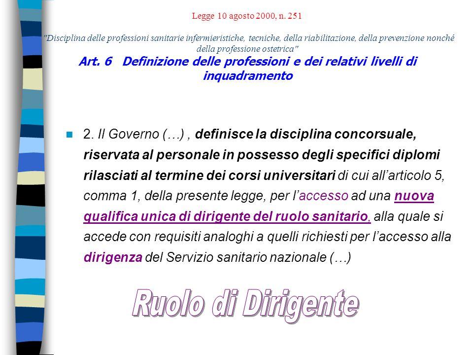 Art.2 Professioni sanitarie riabilitative Art. 3 Professioni tecnico-sanitarie Art.