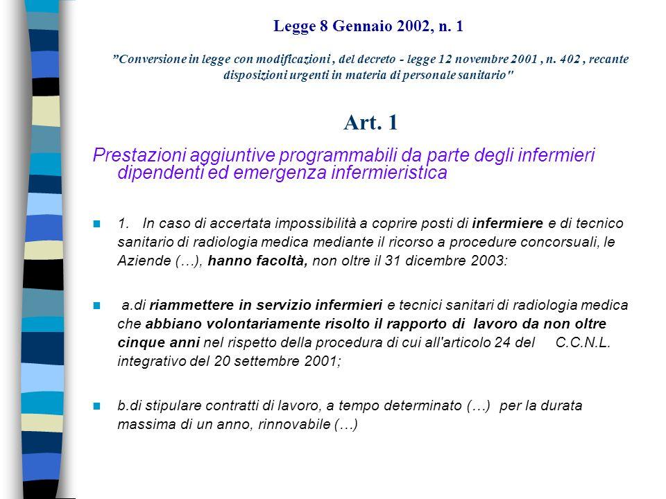 Legge 8 Gennaio 2002, n. 1 Conversione in legge con modificazioni del decreto - legge 12 novembre 2001, n. 402, recante disposizioni urgenti in materi