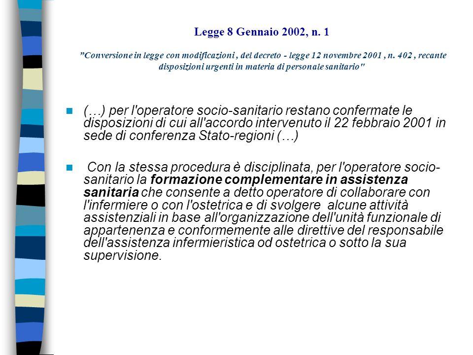 Legge 8 Gennaio 2002, n. 1 Conversione in legge con modificazioni, del decreto - legge 12 novembre 2001, n. 402, recante disposizioni urgenti in mater