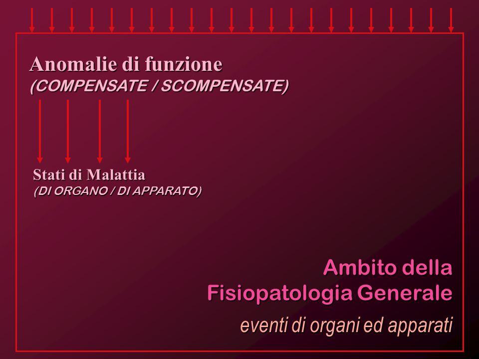 Ambito della Fisiopatologia Generale Anomalie di funzione (COMPENSATE / SCOMPENSATE) Stati di Malattia (DI ORGANO / DI APPARATO) eventi di organi ed a