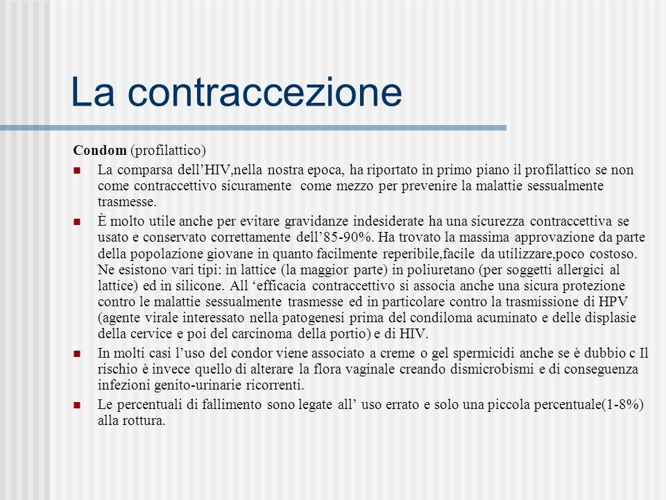 La contraccezione Condom (profilattico) La comparsa dellHIV,nella nostra epoca, ha riportato in primo piano il profilattico se non come contraccettivo sicuramente come mezzo per prevenire la malattie sessualmente trasmesse.