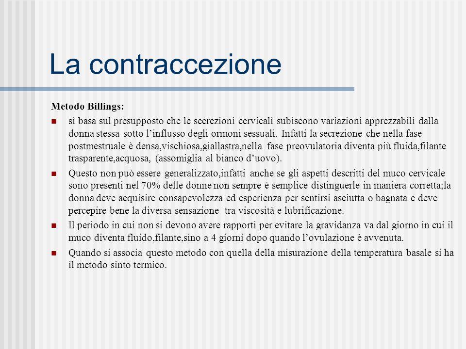 La contraccezione Metodo Billings: si basa sul presupposto che le secrezioni cervicali subiscono variazioni apprezzabili dalla donna stessa sotto linflusso degli ormoni sessuali.