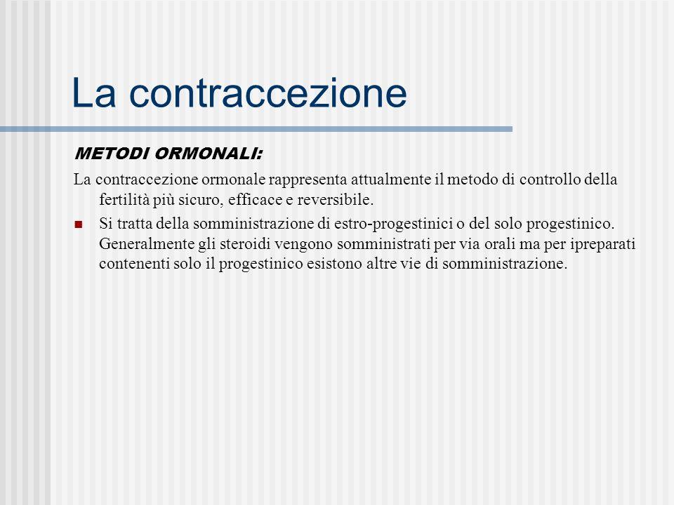 La contraccezione METODI ORMONALI: La contraccezione ormonale rappresenta attualmente il metodo di controllo della fertilità più sicuro, efficace e reversibile.