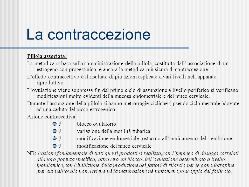 La contraccezione Pillola associata: La metodica si basa sulla somministrazione della pillola, costituita dall associazione di un estrogeno con progestinico, è ancora la metodica più sicura di contraccezione.