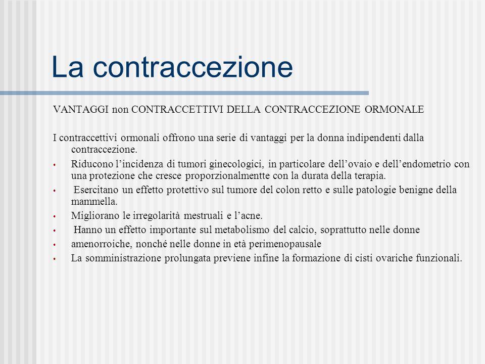 La contraccezione VANTAGGI non CONTRACCETTIVI DELLA CONTRACCEZIONE ORMONALE I contraccettivi ormonali offrono una serie di vantaggi per la donna indipendenti dalla contraccezione.