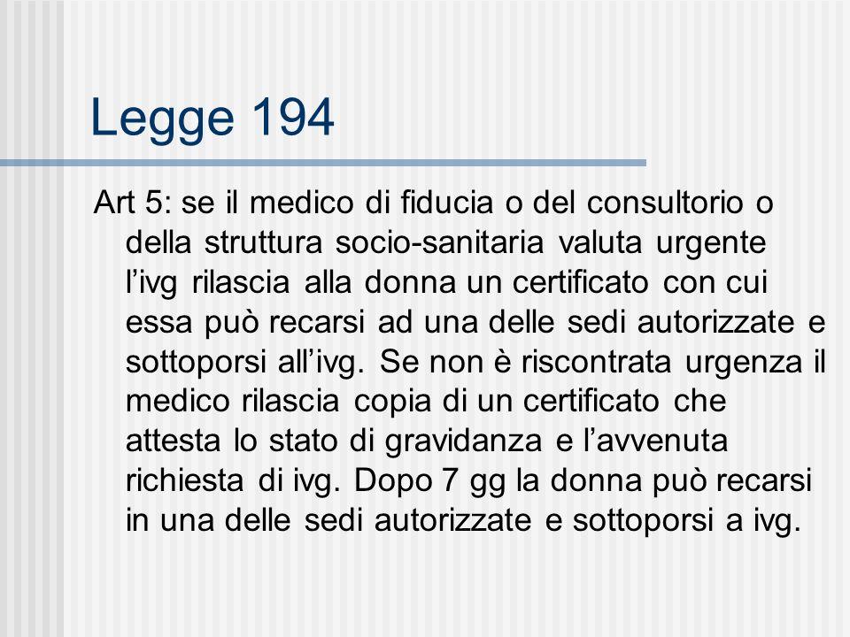 Legge 194 Art 5: se il medico di fiducia o del consultorio o della struttura socio-sanitaria valuta urgente livg rilascia alla donna un certificato con cui essa può recarsi ad una delle sedi autorizzate e sottoporsi allivg.