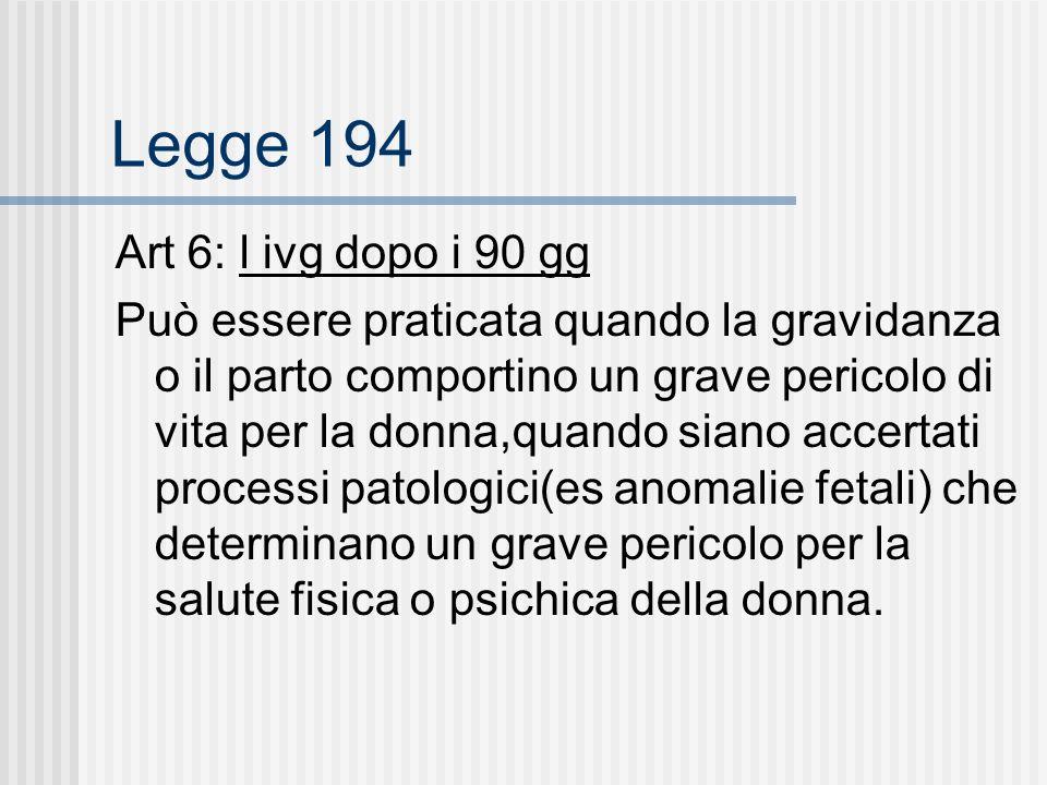Legge 194 Art 6: l ivg dopo i 90 gg Può essere praticata quando la gravidanza o il parto comportino un grave pericolo di vita per la donna,quando siano accertati processi patologici(es anomalie fetali) che determinano un grave pericolo per la salute fisica o psichica della donna.