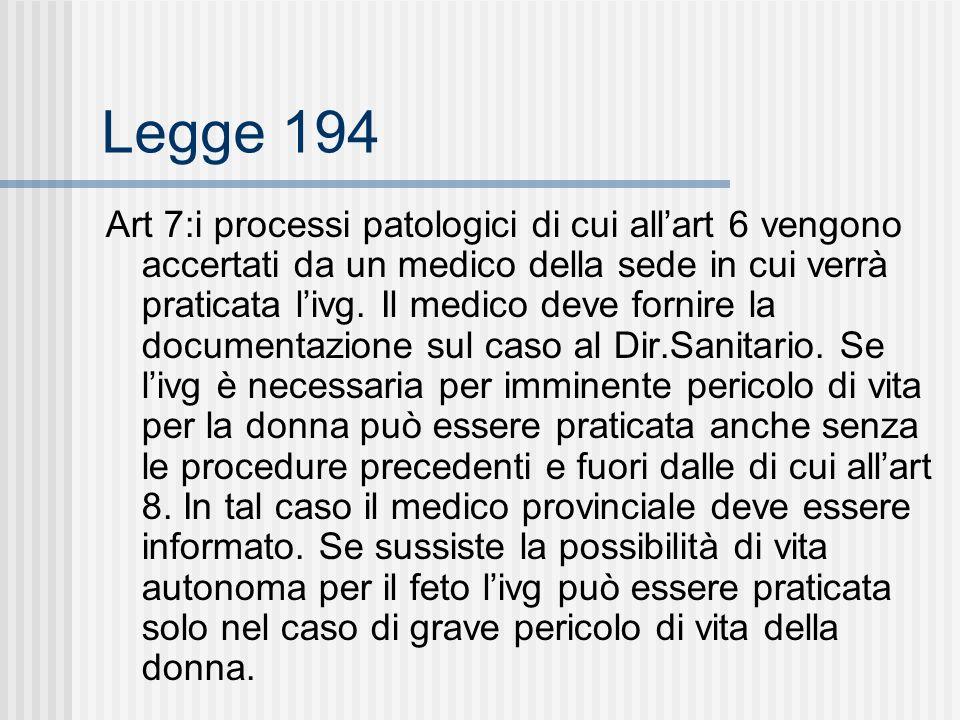 Legge 194 Art 7:i processi patologici di cui allart 6 vengono accertati da un medico della sede in cui verrà praticata livg.