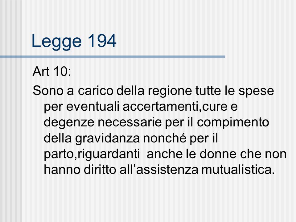 Legge 194 Art 10: Sono a carico della regione tutte le spese per eventuali accertamenti,cure e degenze necessarie per il compimento della gravidanza nonché per il parto,riguardanti anche le donne che non hanno diritto allassistenza mutualistica.