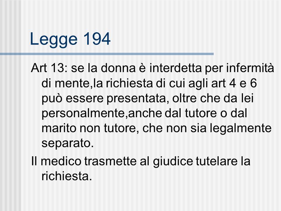 Legge 194 Art 13: se la donna è interdetta per infermità di mente,la richiesta di cui agli art 4 e 6 può essere presentata, oltre che da lei personalmente,anche dal tutore o dal marito non tutore, che non sia legalmente separato.