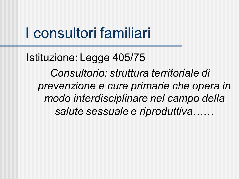 I consultori familiari Istituzione: Legge 405/75 Consultorio: struttura territoriale di prevenzione e cure primarie che opera in modo interdisciplinare nel campo della salute sessuale e riproduttiva……