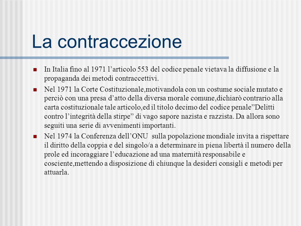 La contraccezione In Italia fino al 1971 larticolo 553 del codice penale vietava la diffusione e la propaganda dei metodi contraccettivi.