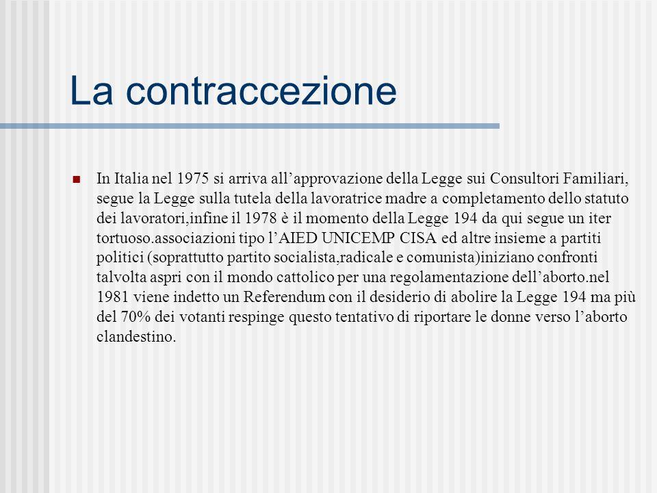 La contraccezione In Italia nel 1975 si arriva allapprovazione della Legge sui Consultori Familiari, segue la Legge sulla tutela della lavoratrice madre a completamento dello statuto dei lavoratori,infine il 1978 è il momento della Legge 194 da qui segue un iter tortuoso.associazioni tipo lAIED UNICEMP CISA ed altre insieme a partiti politici (soprattutto partito socialista,radicale e comunista)iniziano confronti talvolta aspri con il mondo cattolico per una regolamentazione dellaborto.nel 1981 viene indetto un Referendum con il desiderio di abolire la Legge 194 ma più del 70% dei votanti respinge questo tentativo di riportare le donne verso laborto clandestino.