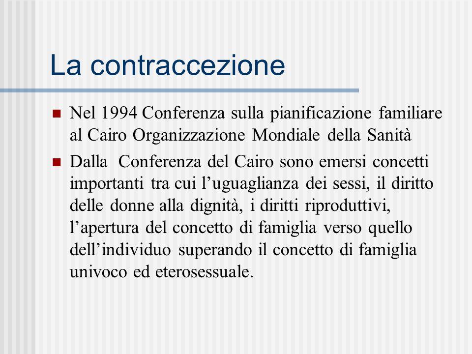 La contraccezione Nel 1994 Conferenza sulla pianificazione familiare al Cairo Organizzazione Mondiale della Sanità Dalla Conferenza del Cairo sono emersi concetti importanti tra cui luguaglianza dei sessi, il diritto delle donne alla dignità, i diritti riproduttivi, lapertura del concetto di famiglia verso quello dellindividuo superando il concetto di famiglia univoco ed eterosessuale.