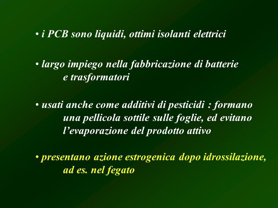 i PCB sono liquidi, ottimi isolanti elettrici largo impiego nella fabbricazione di batterie e trasformatori usati anche come additivi di pesticidi : f