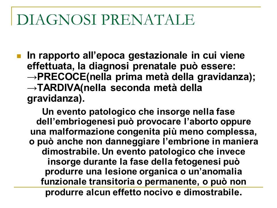DIAGNOSI PRENATALE In rapporto allepoca gestazionale in cui viene effettuata, la diagnosi prenatale può essere:PRECOCE(nella prima metà della gravidan