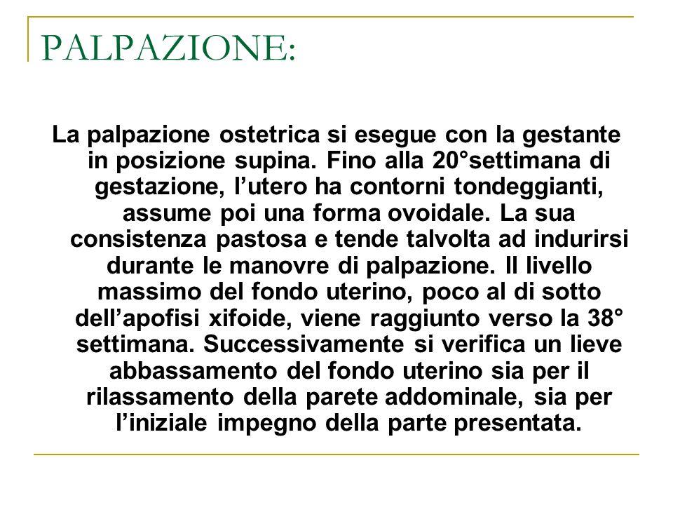 PALPAZIONE: La palpazione ostetrica si esegue con la gestante in posizione supina. Fino alla 20°settimana di gestazione, lutero ha contorni tondeggian