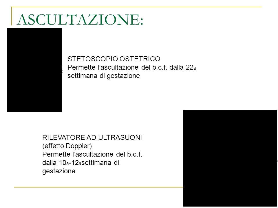 ASCULTAZIONE: STETOSCOPIO OSTETRICO Permette lascultazione del b.c.f. dalla 22 a settimana di gestazione RILEVATORE AD ULTRASUONI (effetto Doppler) Pe