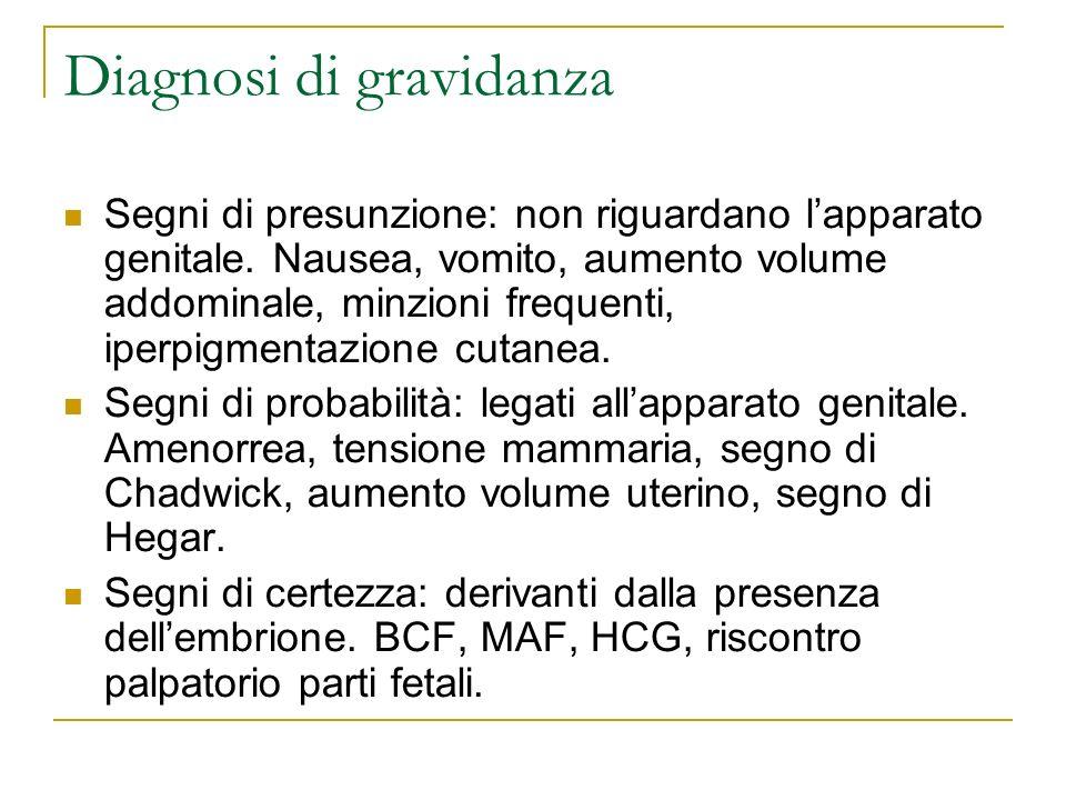 Diagnosi di gravidanza Segni di presunzione: non riguardano lapparato genitale. Nausea, vomito, aumento volume addominale, minzioni frequenti, iperpig
