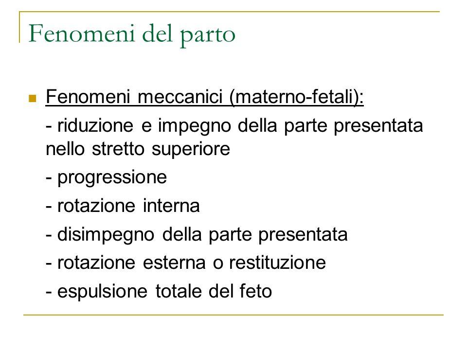 Fenomeni del parto Fenomeni meccanici (materno-fetali): - riduzione e impegno della parte presentata nello stretto superiore - progressione - rotazion
