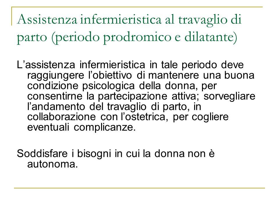 Assistenza infermieristica al travaglio di parto (periodo prodromico e dilatante) Lassistenza infermieristica in tale periodo deve raggiungere lobiett
