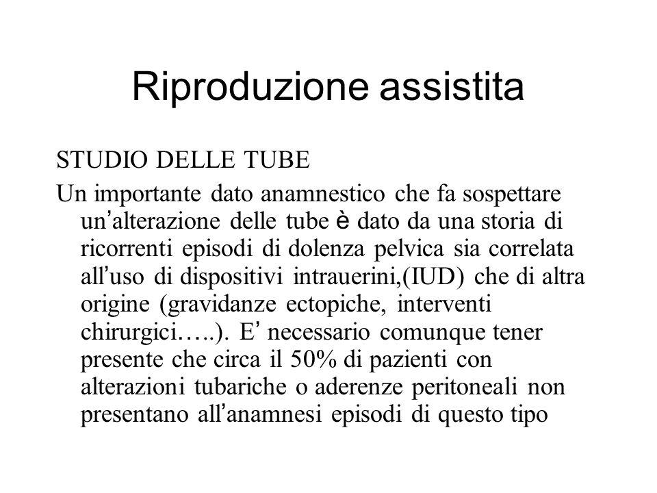 Riproduzione assistita STUDIO DELLE TUBE Un importante dato anamnestico che fa sospettare un alterazione delle tube è dato da una storia di ricorrenti