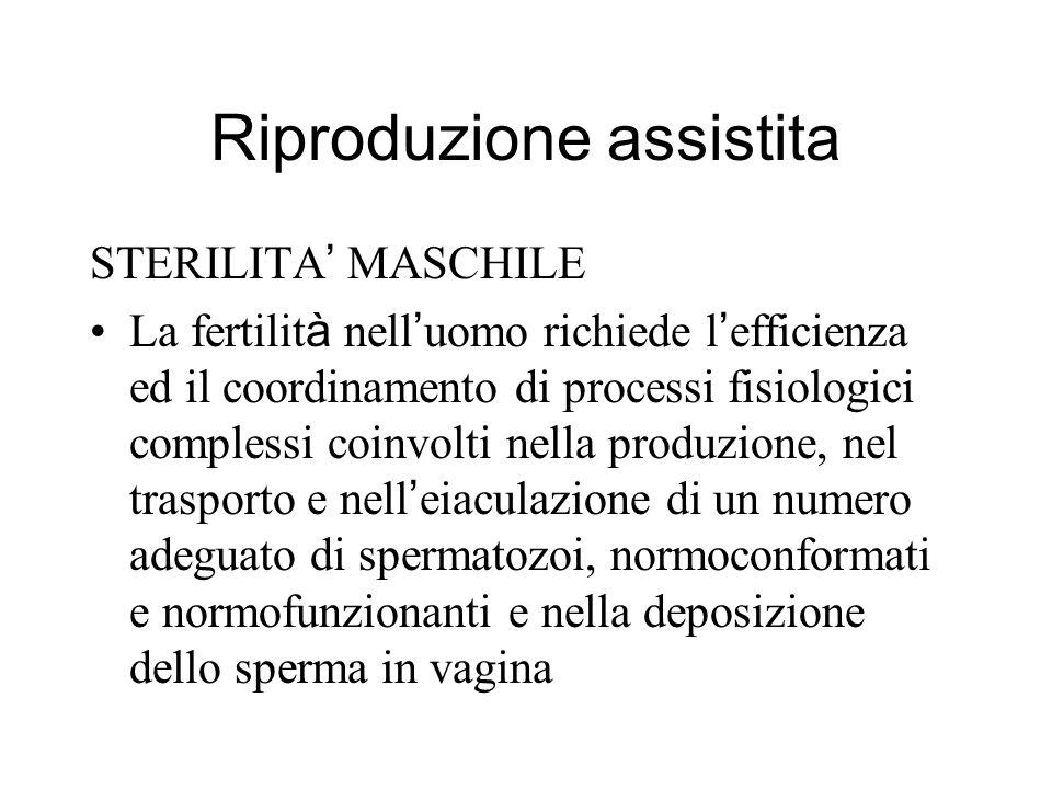 Riproduzione assistita STERILITA MASCHILE La fertilit à nell uomo richiede l efficienza ed il coordinamento di processi fisiologici complessi coinvolt