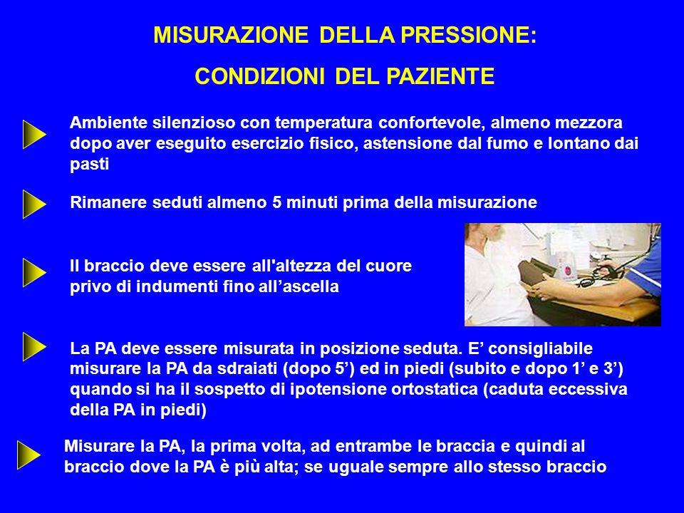 MISURAZIONE DELLA PRESSIONE: CONDIZIONI DEL PAZIENTE Rimanere seduti almeno 5 minuti prima della misurazione Il braccio deve essere all'altezza del cu