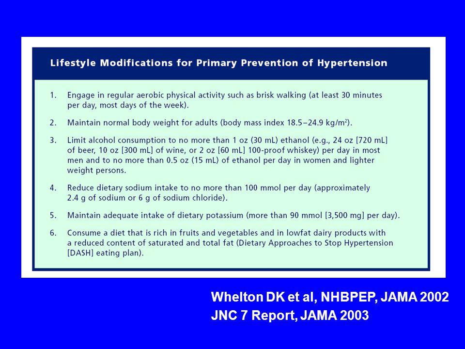 Whelton DK et al, NHBPEP, JAMA 2002 JNC 7 Report, JAMA 2003