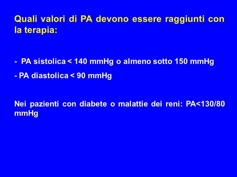 Quali valori di PA devono essere raggiunti con la terapia: - PA sistolica < 140 mmHg o almeno sotto 150 mmHg - PA diastolica < 90 mmHg Nei pazienti co