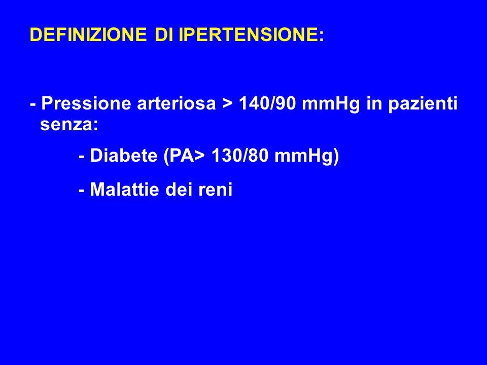 DEFINIZIONE DI IPERTENSIONE: - Pressione arteriosa > 140/90 mmHg in pazienti senza: - Diabete (PA> 130/80 mmHg) - Malattie dei reni