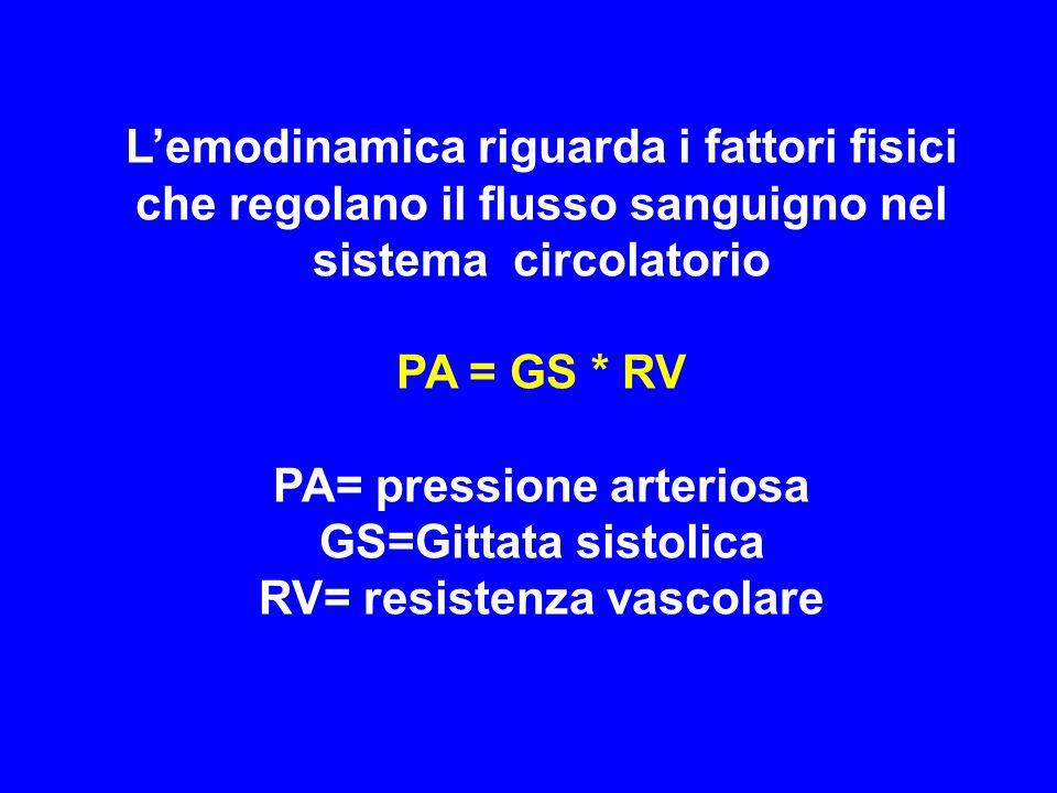 Lemodinamica riguarda i fattori fisici che regolano il flusso sanguigno nel sistema circolatorio PA = GS * RV PA= pressione arteriosa GS=Gittata sisto