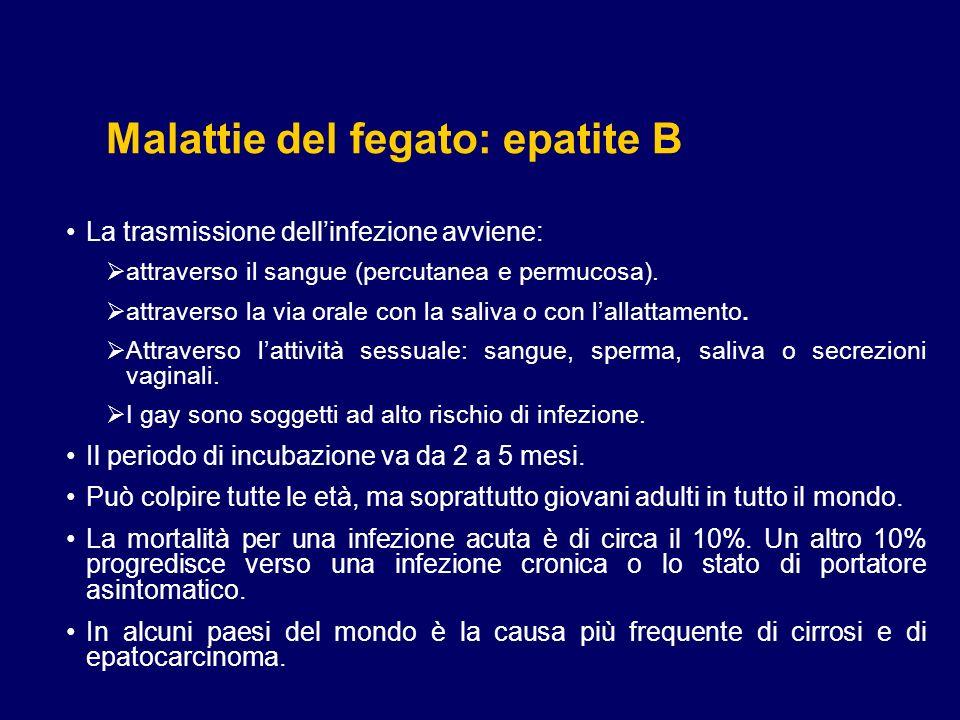 Malattie del fegato: epatite B Epatite B (HBV) Lepatite B è causata da un virus a DNA con doppio involucro.