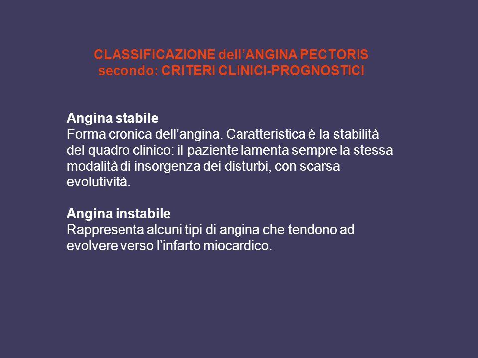 CLASSIFICAZIONE dellANGINA PECTORIS secondo: CRITERI CLINICI-PROGNOSTICI Angina stabile Forma cronica dellangina. Caratteristica è la stabilità del qu