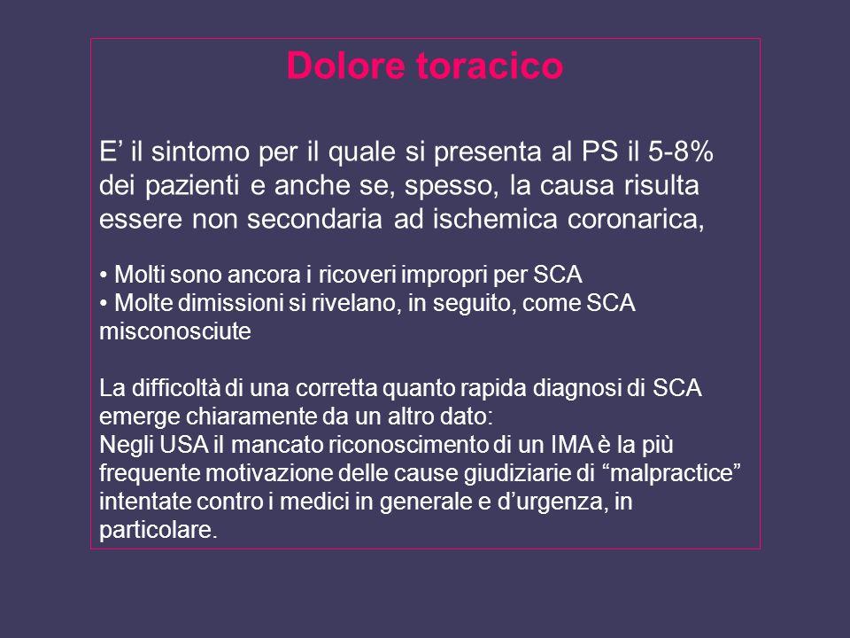 Dolore toracico E il sintomo per il quale si presenta al PS il 5-8% dei pazienti e anche se, spesso, la causa risulta essere non secondaria ad ischemi