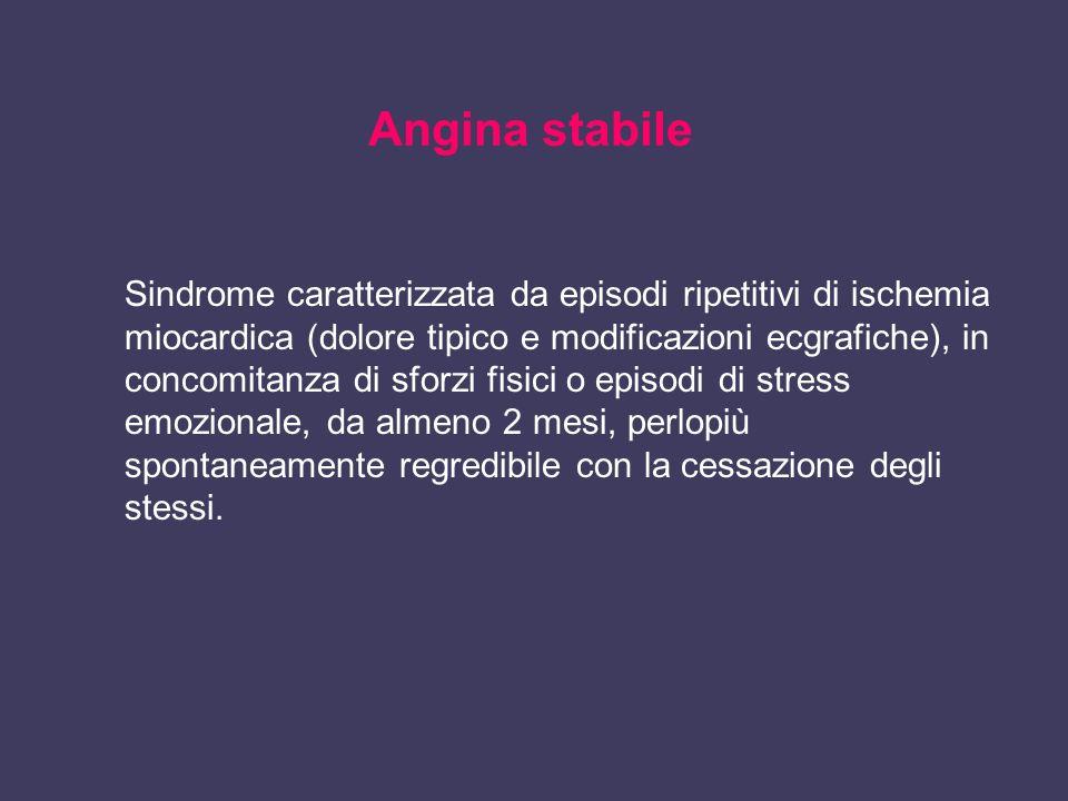 Angina stabile Sindrome caratterizzata da episodi ripetitivi di ischemia miocardica (dolore tipico e modificazioni ecgrafiche), in concomitanza di sfo