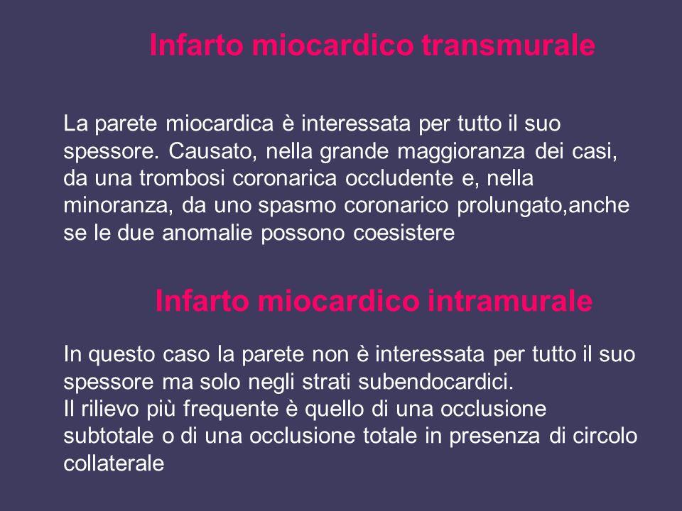 Infarto miocardico transmurale La parete miocardica è interessata per tutto il suo spessore. Causato, nella grande maggioranza dei casi, da una trombo