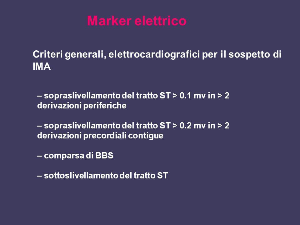 Marker elettrico Criteri generali, elettrocardiografici per il sospetto di IMA – sopraslivellamento del tratto ST > 0.1 mv in > 2 derivazioni periferi
