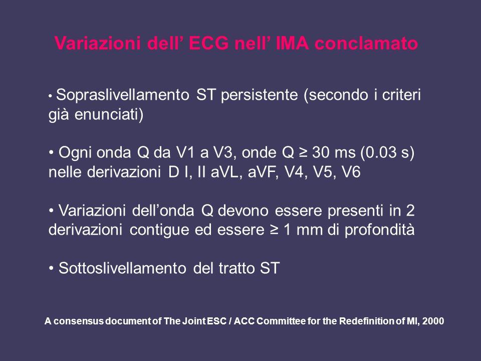 Variazioni dell ECG nell IMA conclamato Sopraslivellamento ST persistente (secondo i criteri già enunciati) Ogni onda Q da V1 a V3, onde Q 30 ms (0.03